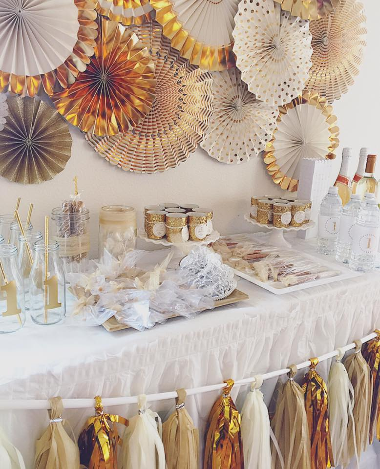 White and Gold First Birthday Party