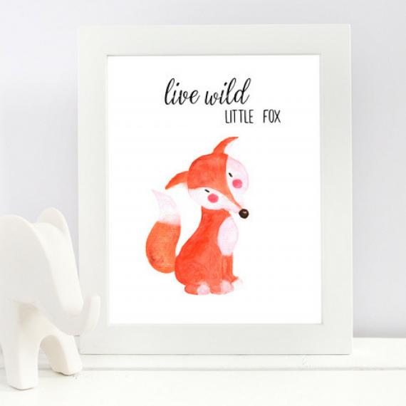 Live Wild Little Fox Art Print