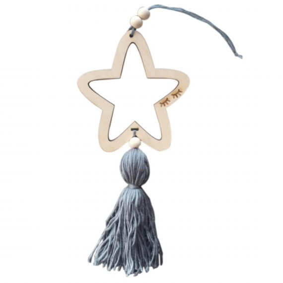 Nordic Open Star Tassel Grey