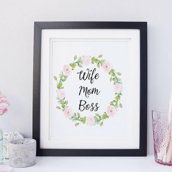 Wife Mom Boss Art Print