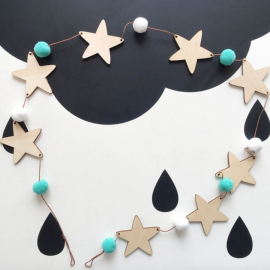 Wooden Star and wool ball Garland Mint
