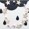 Wooden Star and wool ball Garland Pink
