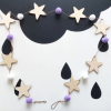 Wooden Star and wool ball Garland purple