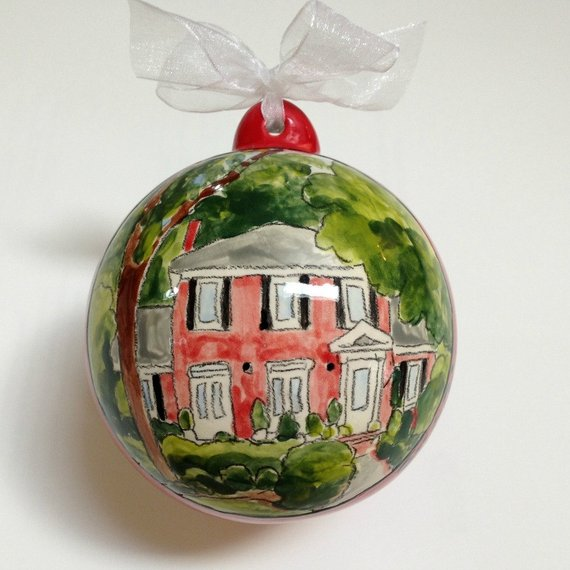 Personalized house portrait Christmas ornament