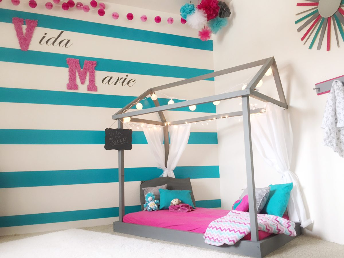 Adorable Pink and Teal DIY Toddler Room